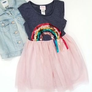Pinky Tulle Sequin Rainbow Tee Shirt Top Dress